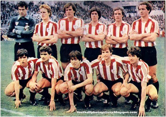 Formación 1982-83: Arriba: Zubizarreta, De Andrés, Goikoetxea, Urkiaga, Núñez, Liceranzu. Abajo: Dani, Gallego, Sarabia, Sola, Argote.