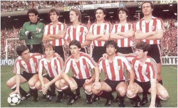 Formación 1983-84. Arriba: Zubizarreta, Goikoetxea, De Andrés, De la Fuente, Urkiaga, Liceranzu. Abajo: Dani, Sola, Noriega, Urtubi, Argote.