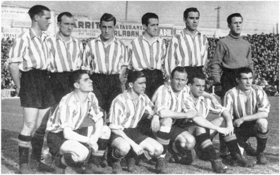 Formación 1942-43: De pie: Panizo, Bertol, Ortúzar, Iriondo, Zarra, Rivero. Agachados: Gainza, Albizua, Arqueta, Mieza, Nando. (Fotografía gentileza de Vicente Martínez Calatrava)