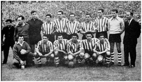 Formación 1958-59: De pie: Carmelo, Orúe, Garay, Canito, Mauri, Etura, López. Agachados: Artetxe, Koldo Aguirre, Arieta I, Uribe y Gainza. (Foto gentileza de Vicente Martínez Calatrava).