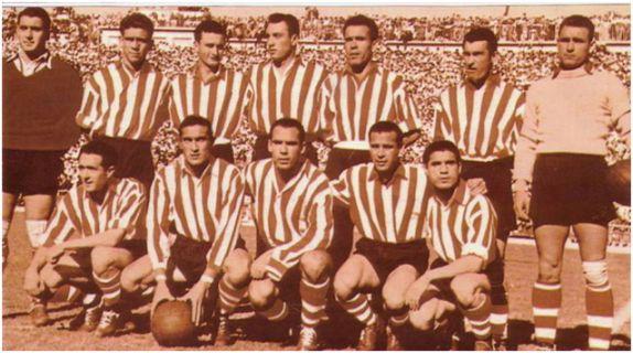 Formación Campeón Copa 1950. De pie: Cayetano, Manolín, Canito, Areta, Aramberri, Nando, Lezama. Agachados: Iriondo, Venancio, Zarra, Panizo, Gainza.