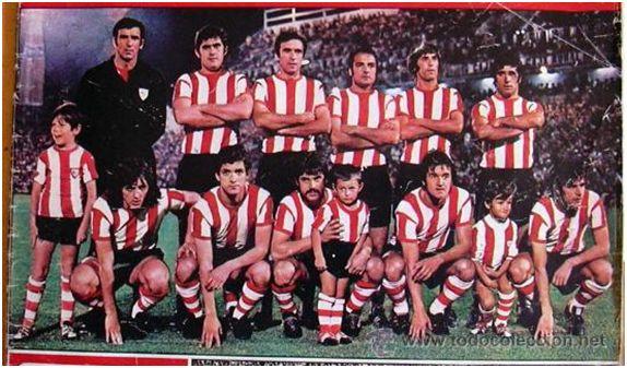 Formación Campeón Copa Generalísimo 1973: De pie: Iribar, Gisasola, Larrauri, Sáez, Rojo II, Zubiaga. Agachados: Lasa, Villar, Arieta II, Uriarte, Rojo I.