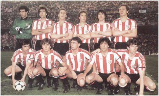 Formación Campeón Copa del Rey 1984: De pie: Zubizarreta, Goikoetxea, De Andrés, Núñez, Urkiaga, Liceranzu. Agachados: Dani, Patxi Salinas, Endika, Urtubi, Argote.