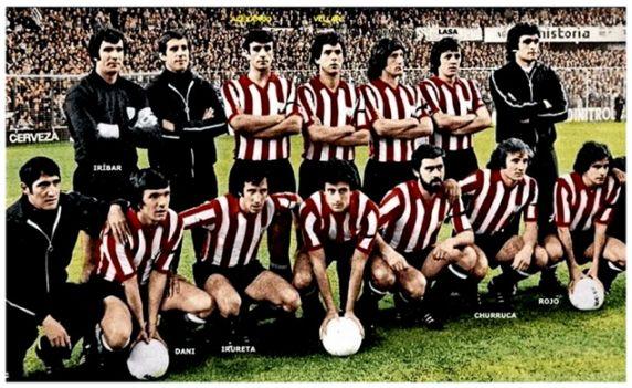 Subcampeón de la copa UEFA 1977, partido de vuelta en San Mamés: Iribar, X, Alexanko, Villar, Escalza, Lasa. Agachados: Dani, Irureta, Amorrortu, Gisasola, Churruca, Rojo I.