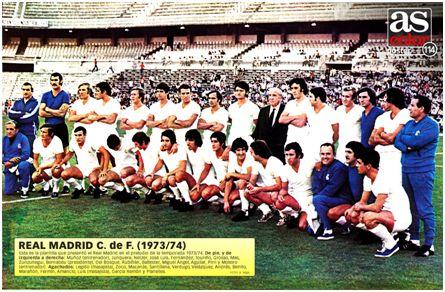 Presentación del Real Madrid 73-74, última temporada del dúo Muñoz y Moleiro, este último a la derecha de la imagen en la fila superior, con chándal azul.