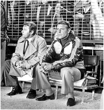 Boskov y Grosso en el banquillo del Bernabéu en la temporada 81-82 (ABC)