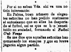 Nota de la fundación del FC Venus