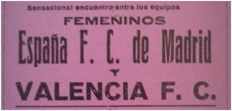 Publicidad de los equipos España FC y Valencia FC (1932)