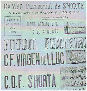 Cartel del partido CD S'Horta – CF Virgen de Lluc. S'Horta (Felanitx), 28 de marzo de 1971 (archivo Maties Adrover Palmer)