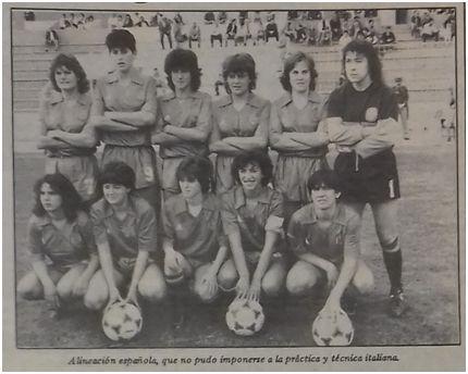 La selección española femenina en el Estadio Balear (Baleares, 3 de noviembre de 1985)
