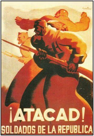 La propaganda lo impregnó todo durante la Guerra Civil. Arengas en el frente, bulos y cartelería en retaguardia. Joaquín Arater falleció alcanzado por un proyectil, en plena arenga.