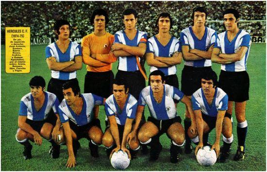 Formación 1974-75. De Pie: José Antonio, Santoro, Baena, Rivera, Andréu, Quique. Agachados: Arieta II, Betzuen, Illán, Carreño, Pepín.