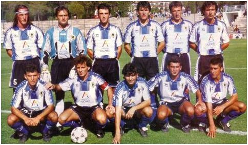 Formación 1995-96. De Pie: Pavlicic, Marí, David, Lledó, Jankovic,  Antón. Agachados: Alfaro, Parra, Paquito, Palomino, Rodríguez.