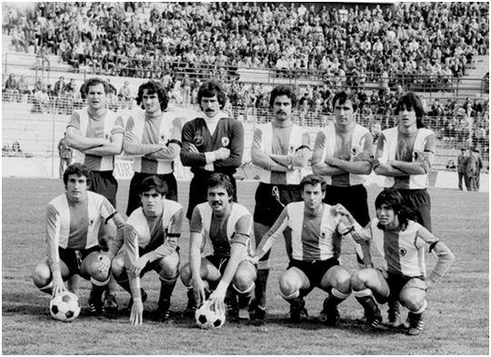 Formación 1978-79. De Pie: Baena, Juan, Amador, Ernesto, Verde, Giuliano. Agachados: Carcelén, Aracil, Kustudic, Abad, Moyano.