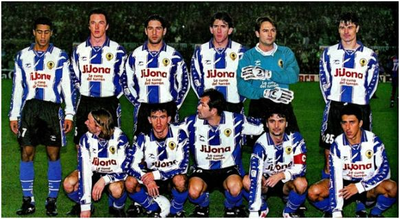 Formación 1996-97. De Pie: Sandro, Pavlicic, Amato, Lledó, Marí, Stankovic. Agachados: Miljanovic, Alfaro, Visnjic, Paquito, Rodríguez.