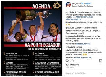 Imagen tomada de la página oficial de Instagram de LDU