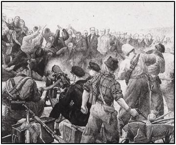 """Lienzo de Mariano Izquierdo, propiedad del Museo del Ejército, en Madrid, que representa las matanzas de Paracuellos. """"Españoles, perdonad pero no olvidéis"""", reza la leyenda fileteada en su marco."""