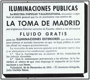 """Anuncio en """"El Norte de Castilla"""", noviembre 1936. Luz gratis para celebrar anticipadamente la caída de un Madrid empeñado en resistir."""