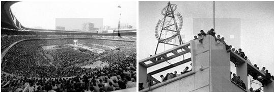 Lleno en el estadio y el público ubicándose en cualquier lugar para poder asistir a la visita de Juan Pablo II. (Agencia EFE)