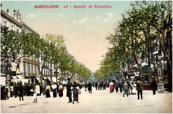 Postal coloreada de la Rambla de Canaletas (Ed. J. Venini, ca. 1910). A la derecha se ve el kiosco de Esteve Sala. Archivo del autor.