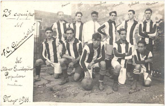 Segundo equipo del F.C. Gimnàstich (mayo de 1911). Archivo del autor.