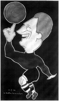 Caricatura de Echevarría. (Autor: L. Basterrechea. Cedida por Garbiñe Bitorika Apeztegia).