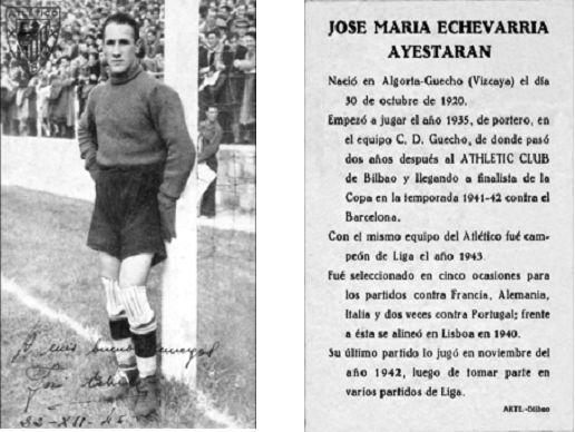 Anverso y reverso de la postal dedicada por Echevarría a la afición con motivo del partido a beneficio suyo y de su compañero Pachi Gárate que debiera haberse celebrado el día 22 de diciembre de 1946. (Tarjeta cedida por Garbiñe Bitorika Apeztegia).