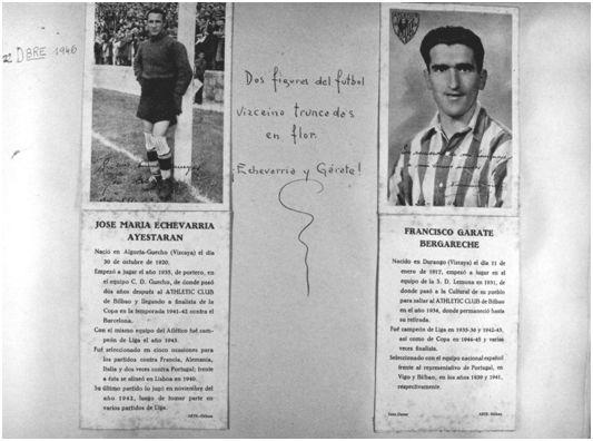 Lámina que figura en el libro de fotografías del club rojiblanco y correspondiente al partido a beneficio de Echevarría y Gárate, encuentro que debiera haberse celebrado el día 22 de diciembre de 1946. (Archivo Athletic Club).