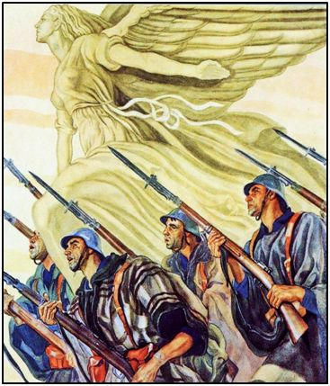 """El excelente cartelista Sáenz de Tejada fijó en el imaginario popular la estética del triunfo franquista. Escenas heroicas y soldados con deliberada desproporción, buscando una espiritualidad tomada de El Greco. Sin embargo no todos los movilizados en el ejército nacional estaban imbuidos de fervor patriótico. """"Cachán"""" constituye un claro ejemplo."""