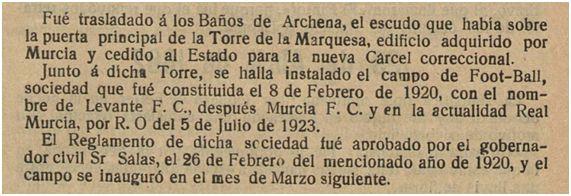 Murcia Historia y Efemérides. Ramón Rojo y Blanco, 1924