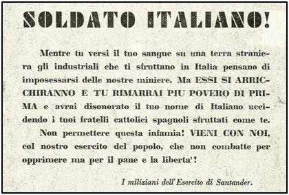 Octavilla italiana sembrada en el frente cántabro, buscando que los soldados italianos del ejército franquista  engrosasen las filas milicianas.