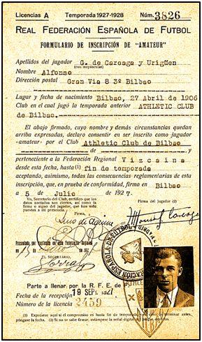 Ficha de Alfonso González Careaga Urigüen con el Athletic Club bilbaíno.