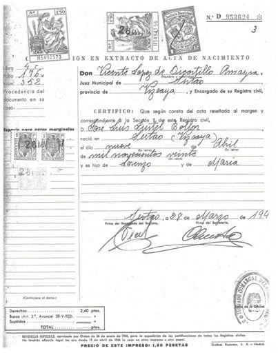 Puesto que el certificado literal resulta ilegible en tamaño foto, se adjunta el certificado en extracto del acta de nacimiento expedido por el Registro Civil de Sestao en marzo de 1947, fecha en la que la familia inicio el procedimiento administrativo conducente a la obtención de una pensión.