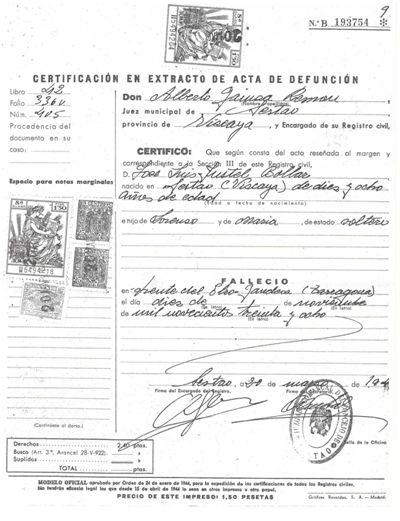 Copia simple de la certificación en extracto del acta de defunción expedida por el Registro Civil de Sestao.