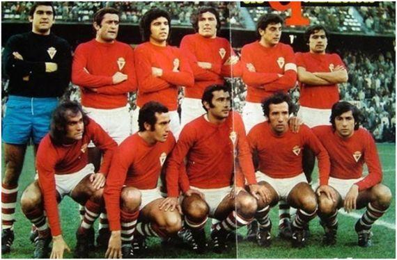 Formación 1973-74: De pie: Ojeda, Ponce, Pazos, Abel Pérez, Ruiz Abellán, Canito. Agachados: García Soriano, Herrero, Vera Palmes, Juárez, Taverna.