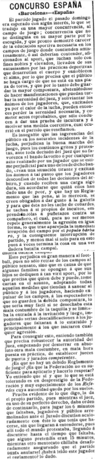El Mundo Deportivo, 11/11/1909