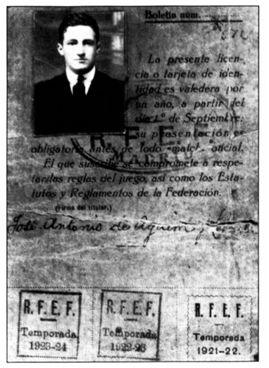 En octubre de 1921, José Antonio Aguirre fue inscrito por el Athletic Club en la Real Federación Española de Fútbol como jugador de la serie 'A' adscrito a la Federación Regional Norte. (© Sabino Arana Fundazioa).