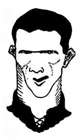 Urquizu, delantero centro del Osasuna. Caricatura de Basaldúa. La Tarde, 05-11-1923.