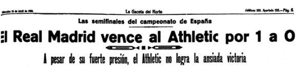 Titular de La Gaceta del Norte (16-04-1924) tras el partido de desempate para el pase a la final de la Copa de España.