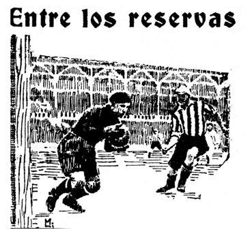 El delantero centro del Athletic, Suárez, en una de sus acometidas a la meta donostiarra. Fotografía: Amado. Dibujo: Lasheras Madinabeitia. (La Gaceta del Norte, 19-05-1925).
