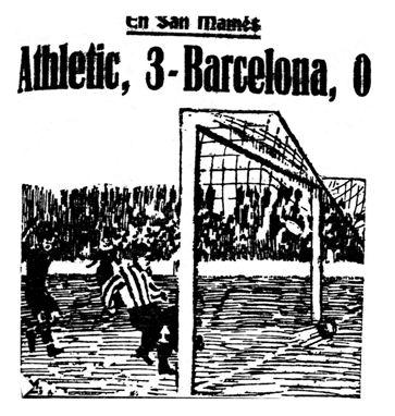 Momento en que Laca remata el segundo gol. Bruguera, el guardameta barcelonista, alza los brazos con desesperación. Fotografía: Amado. Dibujo: Lasheras Madinabeitia. (La Gaceta del Norte, 22-05-1925).