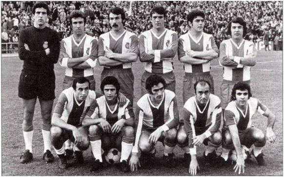 Formación 1972-73. De pie: Borja, Granero, De Felipe, Glaría IV, Ochoa, Poli. Agachados: Roberto Martínez, Solsona, Amiano, José María, Pepín.