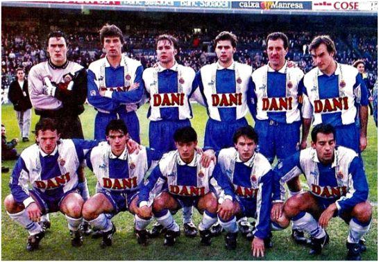 Formación 1995-96: De pie: Toni, Nando, Cristóbal, Pochettino, Francisco, Torres Mestre. Agachados: Brnovic, Lardín, Benítez, Álex Fernández, Urzaiz.