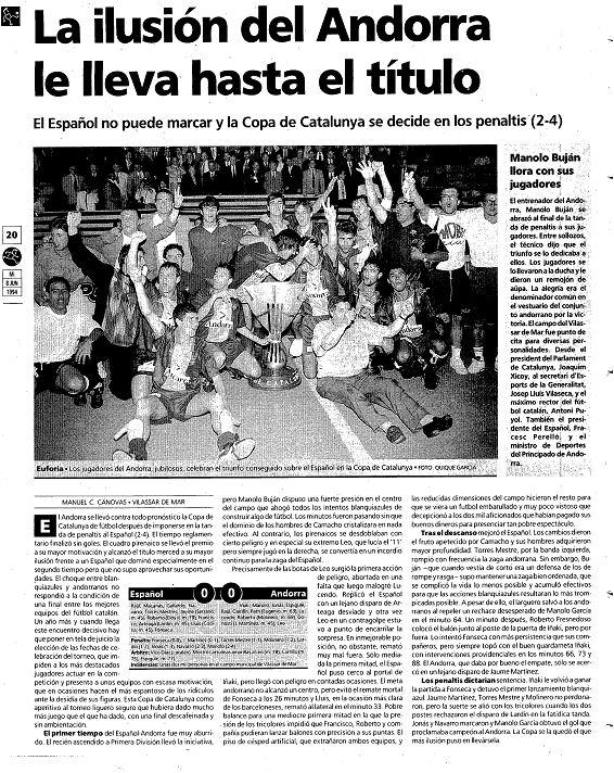 Crónica de la victoria del FC Andorra (8-6-1994/El Mundo Deportivo)