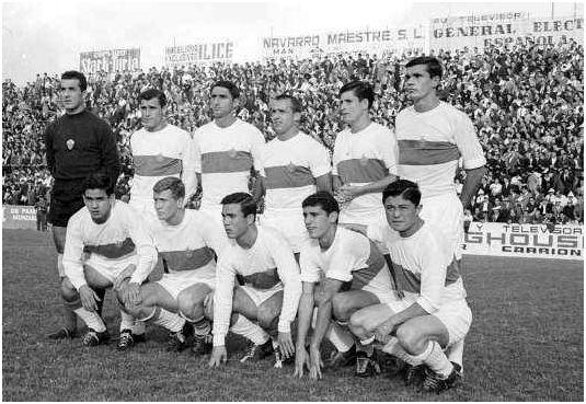 Formación 1965-66: De pie: Pazos, Verdú, Iborra, Quirant, González Lima, Llompart. Agachados: Casco, Marcial, Vavá, Curro, Romero.