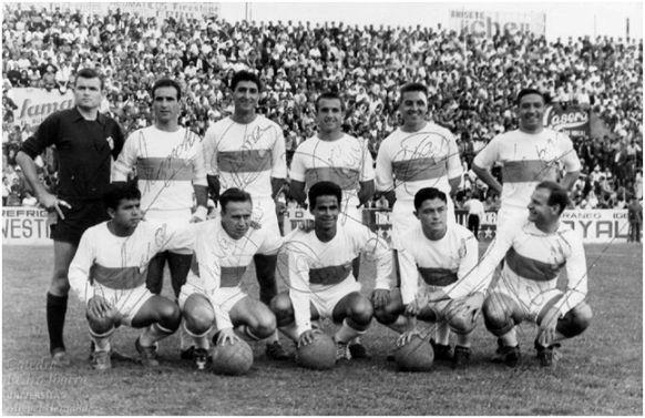 Formación 1961-62: De Pie: Navarro, Chancho, Iborra, Quirant, Rodri, Peporro. Agachados: Cardona, Gargallo, Re, Romero, Pahuet.