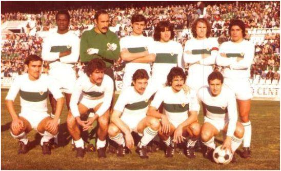 Formación 1977-78: De pie: Gilberto, Esteban, Casuco, Trobbiani, Montero, Benítez. Agachados: Campello, Félix, Sitjà, Gómez Voglino, Cristo.