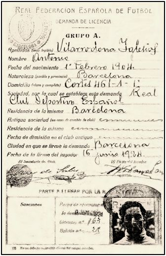Ficha federativa de Antonio Vilarrodona con el Español barcelonés.