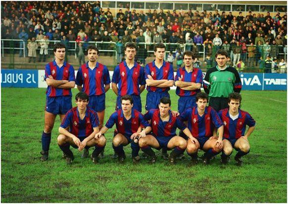 Formación 1990-91. De pie: Aldalur, Roberto, Ugartemendia, Rodríguez, Garmendía. Agachados: Bixente, Jabo, Luluaga, Artutxa, Barriola.