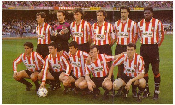 Formación 1991-92: De pie: Gutiérrez, Lopetegui, Polster, Martín I., Herrero J.C., Cleber. Agachados: Iturrino, Uribarrena, Quique Setién, García Pitarch, José María L..